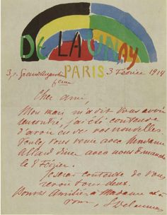 Sonia DELAUNAY - letter addressed to Guillaume APOLLINAIRE inviting him to come and see her - 1914