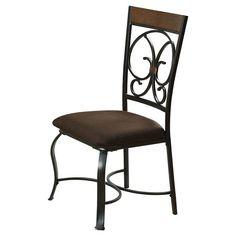 Jassi Side Dining Chair Metal/Dark Cherry/Antique Black (Set of 2) - Acme : Target