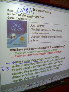 sentence fluency trait: Owl Moon mentor text