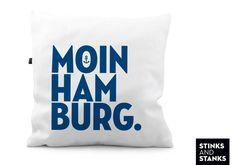 Kissen Moin Hamburg- Kissen KS146 von STINKSANDSTANKS - Individualisierbare Geschenke auf DaWanda.com