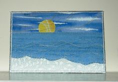 Beach Postcard, Sunrise Quilted Fabric Postcard Art Quilt, Frameable …