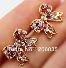 Cute Fashion Graceful Colorful Rinestone Bowknot Earrings Studs,Bow Earring(China (Mainland))