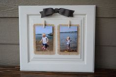 Rustic Shabby Chic Upcycled Cabinet Door into Picture frame for two photos – wedding gift, baby gift, home decor upcycled cabinet doors Cabinet Door Crafts, Diy Cabinet Doors, Cupboard Doors, Recycled Paper Crafts, Upcycled Crafts, Repurposed, Upcycled Cabinet, Shabby Chic Picture Frames, Rustikalen Shabby Chic