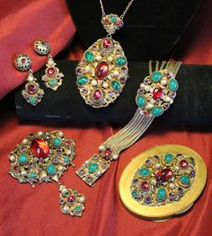 Signed Neiger Art Deco Czech Glass Enamel Brass Necklace Bracelet Compact Set
