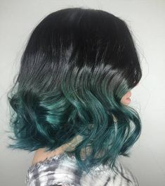 Black+To+Teal+Ombre+Lob