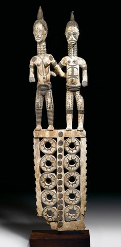 Africa | Couple sculpture from the Igbo people of Nigeria | Wood