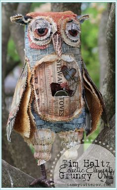 Tammy Tutterow | Grungy Owl featuring Tim Holtz Eclectic Elements Fabric.