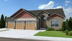 House Plan 96200   Craftsman Plan with 1559 Sq. Ft., 2 Bedrooms, 2 Bathrooms, 3 Car Garage