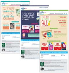 HTML e-shots. E-narketing solutions for printing.com created on a monthly basis, showing their latest offers.