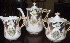 RS Prussia Cupid Series Tea Set Mold 3 Teapot Cream Pitcher Sugar Tiffany Finish #RSPrussia