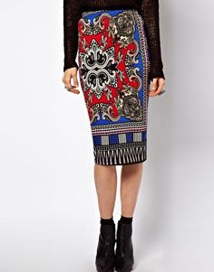 Image 4 of ASOS Pencil Skirt in Scarf Print £15.00/ Wear with black top and waterfall blazer in other pins