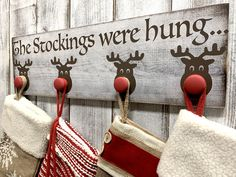 The purchase of this listing is for one hand painted sign with the following specifications: Style: Reindeer Stocking Holder Sign Measurements: ~7.25 x 24 inches Colors: Whitewash base color + Brown & Red accents Ordering Your Wood Sign To Order please add your item to your cart individually and then select the