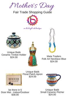 Give gifts that give back! Check out these Free Trade items that Mom's will love! https://onthebrightsideboutique.com/