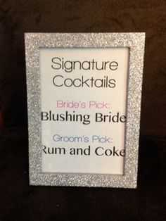 Sparkly Glitter Frames - Bling Wedding by BlingSparklesOhMy - great for table numbers, signature cocktail drink descriptions, thank you signs, etc! Wedding Wishes, Wedding Signs, Our Wedding, Dream Wedding, Wedding Stuff, Glitter Wedding, Bling Wedding, Wedding Bells, Glitter Frame