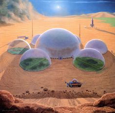 """Picture of the Day - """"Colony on Mars under plastic domes"""" by classical space artist Chesley Bonestell, dubbed as """"Father of Modern Space Art"""". Art Science Fiction, Mars Project, Mars Colony, 70s Sci Fi Art, Ecole Art, Future City, Fantasy Landscape, Sci Fi Fantasy, Retro Art"""