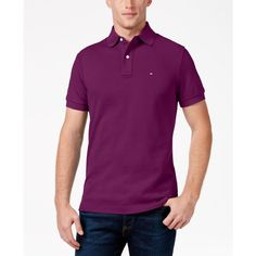 Tommy Hilfiger Men's Classic-Fit Ivy Polo ($40) ❤ liked on Polyvore featuring men's fashion, men's clothing, men's shirts, men's polos, magenta purple heather, mens purple polo shirts, mens purple shirt, tommy hilfiger mens shirts and mens polo shirts
