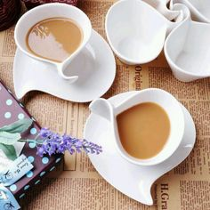 These beautiful cups and saucers are designed by Villeroy and Boch.