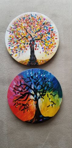 Tree of life paintings.Small tree of life home decor. Tree Of Life Artwork, Tree Of Life Painting, Circle Painting, Wood Painting Art, Tree Art, Stone Painting, Tree Paintings, Acrylic Paintings, Acrylic Paint On Wood
