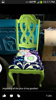 Hemingway's Buttom Cushion! Key lime green painted chair modern flowery upholstery!