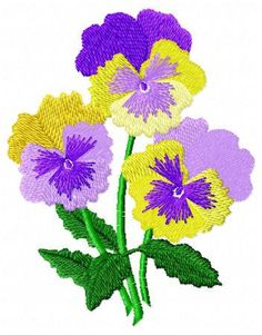 Pansy Flower Embroidery Design Instant Download by JEmbroiderynApplique