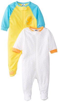 Gerber Unisex Baby 2 Pack Zip Front Sleep 'N Play, Ducks, 6-9 Months