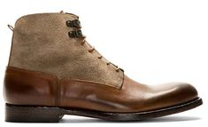 Alexander McQueen Burnished Leather x Suede Boots