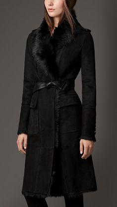Black Reverse Collar Shearling Coat - Burberry