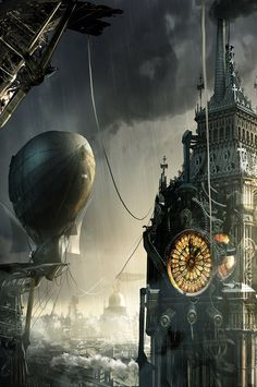 Steampunk refers to a subgenre of science fiction and sometimes fantasy—also in recent years a fashion and lifestyle movement—that incorporates technology and aesthetic designs inspired by industrial steam-powered machinery.***Hot Concept Art by Adam Burn Ville Steampunk, Steampunk Kunst, Steampunk Artwork, Steampunk Airship, Steampunk Fashion, Gothic Steampunk, Steampunk Clothing, Victorian Gothic, Steampunk Wallpaper