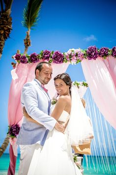 #vintage_purple_wedding_arch #wedding_bamboo_gazebo Photo by Nik Vacuum. Organization by http://www.wedding-caribbean.com