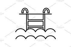 water pool vector line icon, sign, illustration on background, editable strokes. Summer