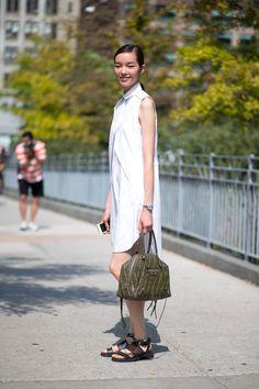 The shirt-dress. Street Style Trends Fashion Week Spring 2015 - Street Style 2015 - Harper's BAZAAR