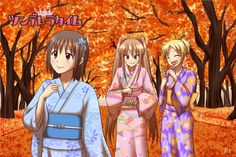 "Autumn leaves and girls dressed in yukata. Tsunderella time will be serialized in ""4KOMA PARTY""."