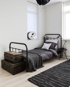 Create a Charming Vintage Kids Room -How to Create a Charming Vintage Kids Room - Boys Modern Farmhouse Bedroom Reveal-Teenager Style Little House of Four: {Friday Finds} 5 Stunning ORC Makeovers Minimal Interior Design Inspiration Industrial Bedroom Design, Vintage Industrial Furniture, Industrial Decorating, Urban Industrial, White Industrial, Bedroom Themes, Bedroom Styles, Bedroom Designs, Bedroom Ideas