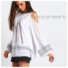 """ARRIVED• The TESSA Embroidered Open Shoulder Top Add this beautiful bohemian style embroidered top. Features a cold shoulder with embroidery and a back button. Material: rayon. Rough measurements • SMALL: bust  38"""", length 26"""" • MEDIUM: bust 41"""", length 26"""" • LARGE: bust 44"""", length 27"""" •• Price is firm on this. •• Tops"""