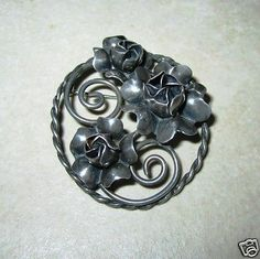 Sterling Silver Circle Pin Brooch Art Deco Flowers Twist Wire Antique Petals