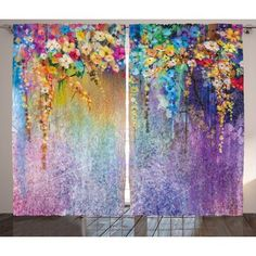 Red Barrel Studio Vanburen Graphic Print & Text Semi-Sheer Rod Pocket Curtain Panels Size: W x Rod Pocket Curtains, Panel Curtains, Curtain Panels, Window Drapes, Flower Curtain, Flower Room, Watercolor Flowers, Watercolor Painting, Oeuvre D'art