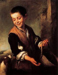 Bartolomé Esteban Murillo - Muchacho con un perro (1655-1660). Museo del Hermitage en San Petesburgo. El modelo temático de Murillo eran los niños víctimas de las penurias, a mediados del siglo XVII, a causa de los impuestos y la competencia en Cadiz, después de la peste negra de 1649