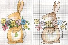 Easter Cross stitch (colour key with other pin; with chick)