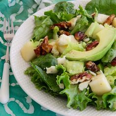 "Roquefort Pear Salad I ""Absolutely amazing! :) Both my best friend and I loved it - what a stunning combination of flavors, with the juicy pears, tangy cheese and crunchy and sweet pecans."""