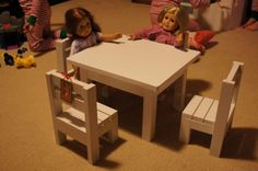 "Claras Table and $4 stackable chairs sized for 18"" Dolls."