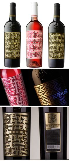 Mysterium Wine Bottles for 3 vintages. Designed by Ion Barbu at Romanian design studio Spotlight for Jidvei.