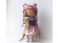 Fabric doll tilda doll Art doll handmade blonde pink colors Decor doll Soft doll Fabric doll Baby doll Nursery doll by Master Diana Etkind