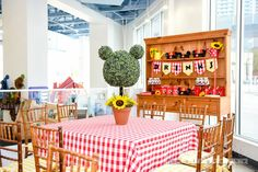 Guest table from a Minnie Mouse Sunflower Garden Party on Kara's Party Ideas | KarasPartyIdeas.com (54)