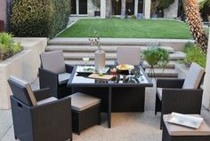 Modern Patio with Raised beds, Howard Elliott Short Beige Striped Brown Glazed Vase, exterior stone floors, Fence