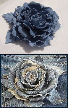 Diy Crafts - Fabric flowers are great, aren't they? We welcome you to these pages for fabric models, flower making videos and sewing descriptions. Denim Flowers, Cloth Flowers, Leather Flowers, Lace Flowers, Felt Flowers, Fabric Flowers, Crocheted Flowers, Artisanats Denim, Denim Art