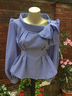 Womens striped blouse, Cotton striped white shirt, Cotton c African Wear, African Dress, Mode Outfits, Fashion Outfits, Casual Outfits, Blouse En Coton, Bow Tie Blouse, Ruffle Blouse, African Blouses