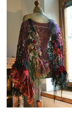 Your place to buy and sell all things handmade Gypsy Style, Bohemian Style, Boho Chic, Altered Couture, Lace Silk, Gold Lace, Boho Fashion, Vintage Fashion, Witchy Outfit