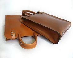 Fourre-tout en cuir brun moyen avec embrayage par BasAder sur Etsy