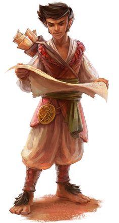 Halfling explorer, dark hair, baggy pants, map case on back, examining a map in hands.