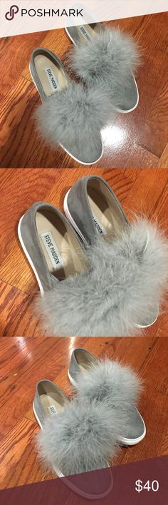 Steve Madden PuffBall Flats Steve Madden puff ball flats, barely used size 6 in gray Steve Madden Shoes Flats & Loafers